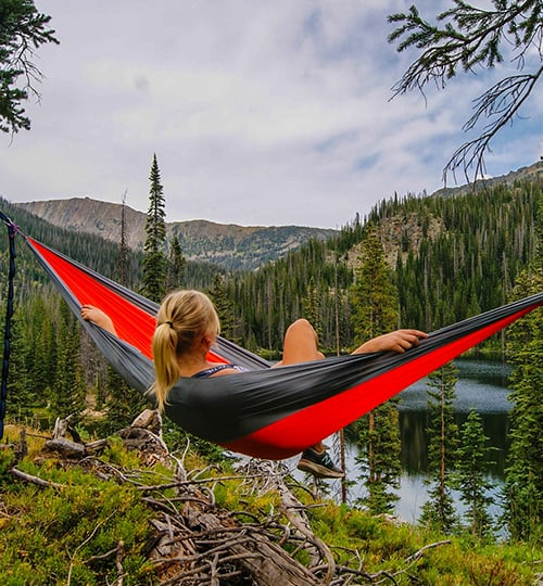 freelancer in hammock
